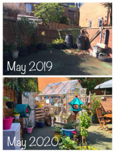 Picture showing garden in May 2019 and now in May 2020