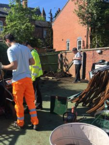Picture of builders and volunteers working in garden