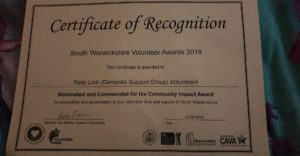 Picture of the Certificate of Recognition that was awarded to volunteers